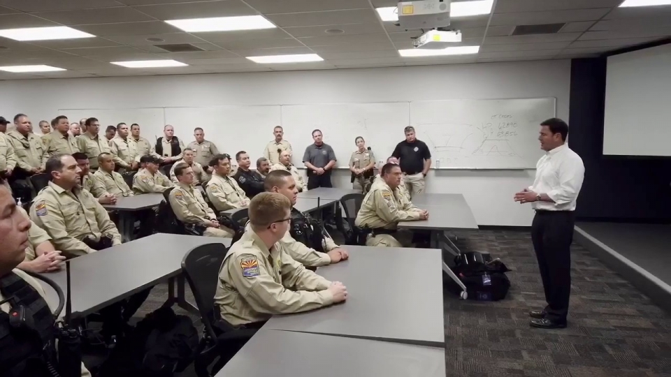 Governor Ducey Speaks With Arizona State Troopers