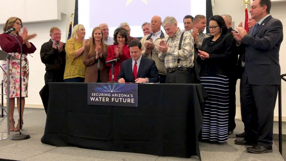 Governor Ducey Signing the Drought Contingency Plan in Yuma, Arizona