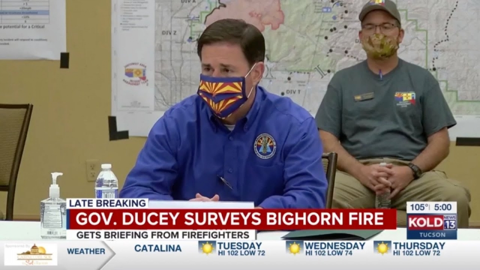 KOLD: Governor Ducey Surveys Bighorn Fire, Gets Briefing From Firefighters