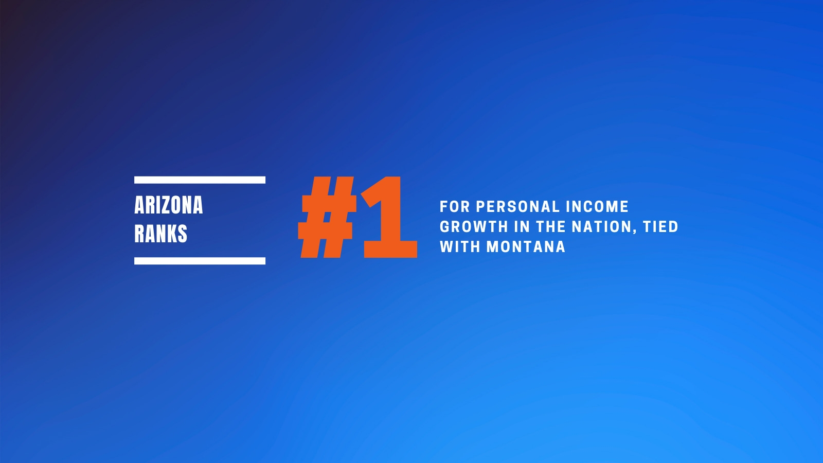 Arizona ranks #1 for personal income growth in the nation.