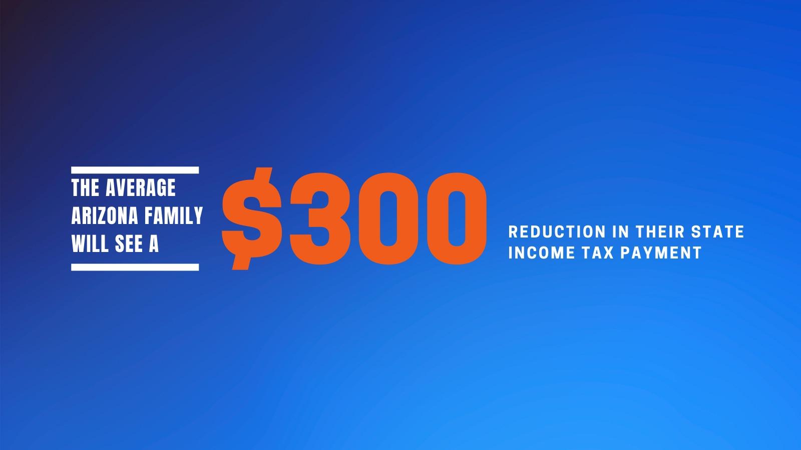 $300 tax reduction for the average Arizonan